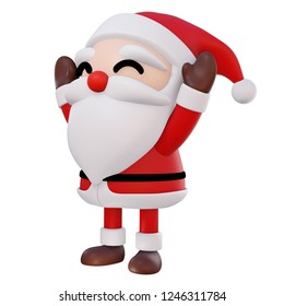 Santa Claus 3d cartoon 2 hands up and eyes smiling rotate right on white background with clipping path, 3d render