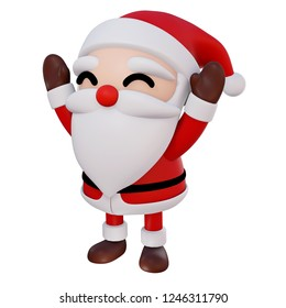 Santa Claus 3d cartoon 2 hands up and eyes smiling rotate right1 on white background with clipping path, 3d render