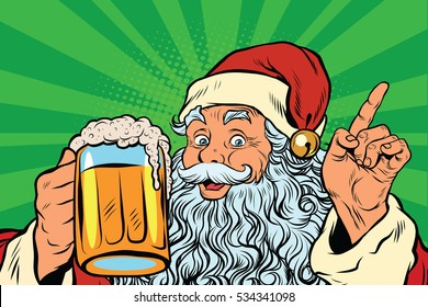 Santa Claus with beer, pop art retro  illustration. Holidays New year and Christmas. Pub or restaurant