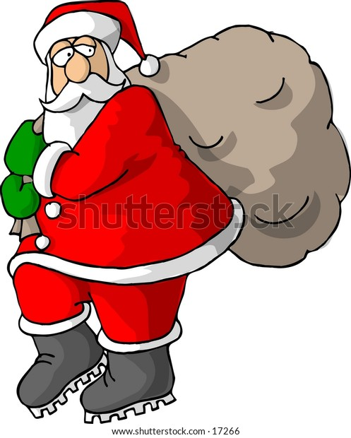 Santa Claus carrying a sack of gifts.