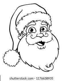 A Santa Claus cartoon character Christmas black and white illustration