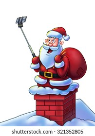 Santa Claus cartoon character on chimney making selfies for his fans using a selfie stick - Digital Painting. Great illustration for Christmas projects, greeting cards, etc. Isolated on white.
