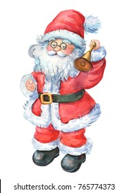 santa claus, christmas card, watercolor hand drawing
