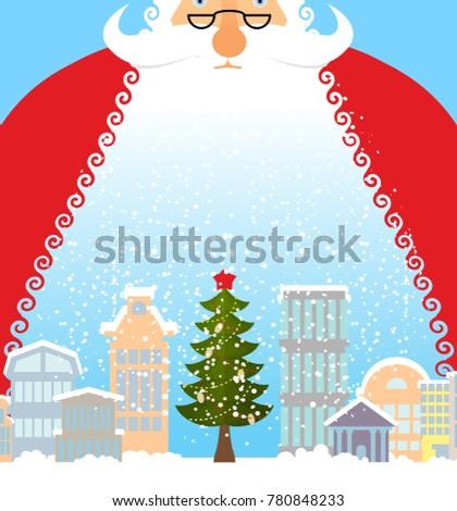 Christmas City Studio.Santa Claus City Christmas Town Snow Stock Illustration