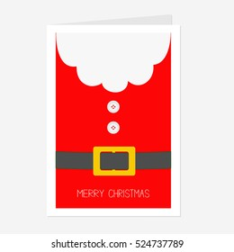 Santa Claus Coat with beard, fur, button and yellow belt. Big Merry Christmas greeting card. Red background. Flat design.