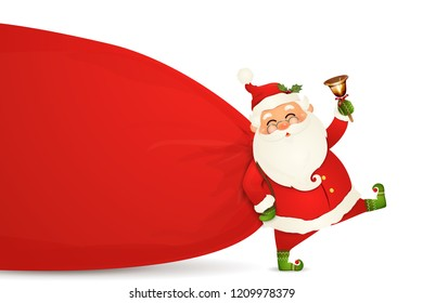 Santa Claus is coming. Santa Claus with huge, red, heavy bag with presents, gift boxes, jingle bell isolated. Happy Santa Claus cartoon character for winter, new year holidays, christmas posters