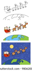 Santa Claus Is Coming To Town. Raster Illustration.Vector version also available in portfolio.