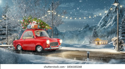 Santa claus in Cute little retro car with decorated christmas tree on top goes by wonderful countryside road. Unusual christmas 3d illustration