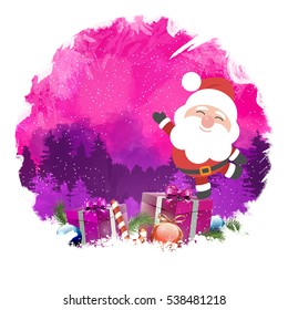 Santa Claus, Digital background Greeting Card.