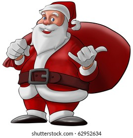 santa claus doing a hang loose and smiling with his bag