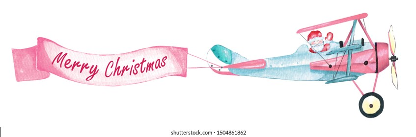 Santa Claus drawing on a vintage style plane and labeling Merry Christmas.Watercolor illustration with Santa Claus and an ancient aircraft flying on sky isolated on white background.