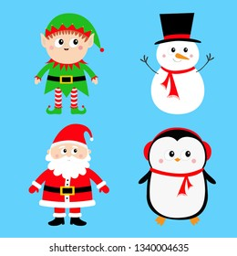 Santa Claus Elf Snowman Penguin set. Happy New Year. Merry Christmas. Red green black hat. Cute cartoon funny kawaii baby character. Greeting card. Flat design. Blue background.