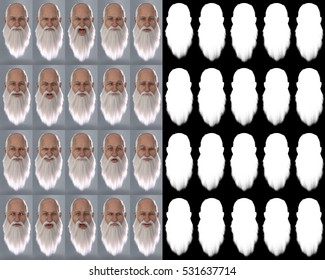 Santa Claus Emotions : Big Sheet. 20 different emotions. 3D Renders. Illustrations with alpha map for easy editing and isolation.