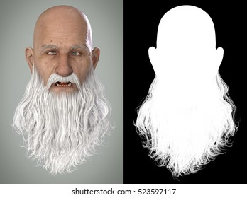 Santa Claus Emotions : Concussed 3D Render. Illustration with alpha map for easy editing and isolation.