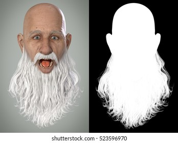 Santa Claus Emotions : Shocked 3D Render. Illustration with alpha map for easy editing and isolation.