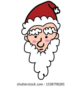 Santa claus  face on white background.