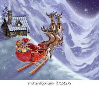 Santa Claus is flying in a sleigh with reindeer
