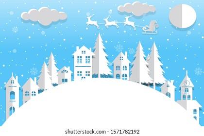 Santa claus flying winter holiday