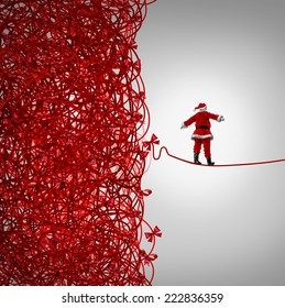 Santa Claus freedom and holiday management gift giving crisis as a concept with santaclause as a tightrope walker walking out of a confused tangled chaos of red ribbons escaping Christmas stress.