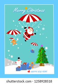 Santa Claus and friends flying with parachute in the sky at Christmas time with snow