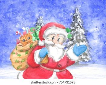 Santa Claus with gift sack and cute kitten in snowing landscape, Christmas illustration hand made with watercolors.