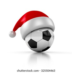 santa claus hat with football soccer ball