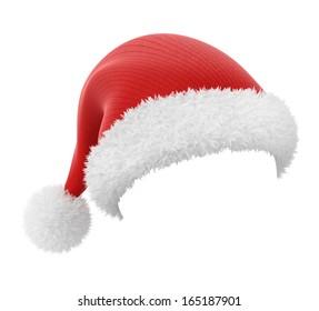 Weihnachtsmütze einzeln auf weißem Hintergrund mit Arbeitspfad