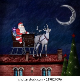 Santa Claus and his sleigh on an old roof - photo manipulation and digital paint