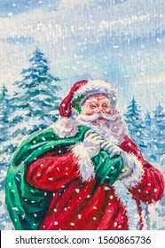 Santa Claus holding a bag with presents. Gifts for Christmas. Cold winter season with snow.