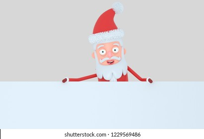 Santa Claus holding a big white  banner. Isolated.3d illustration