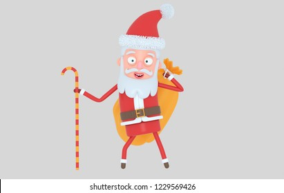 Santa Claus holding a christmas sack. Isolated..3d illustration
