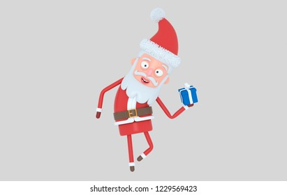 Santa Claus holding a gift. Isolated..3d illustration