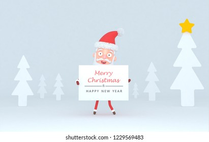 Santa Claus holding a placar with Greetings on a tree white scene..3d illustration