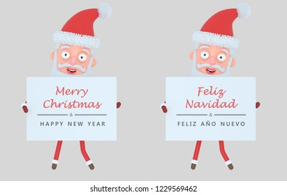 Santa Claus holding placard with greeting. Isolated.3d illustration