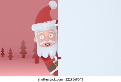 Santa Claus holding  a white placards in a red forest.3d illustration