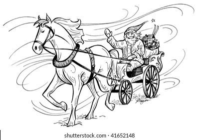 Santa Claus in horse-drawn carriage