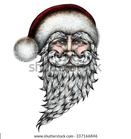 santa claus ink pen drawing hand drawn graphic illustration mixed technique colored image