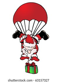 santa claus jump with red parachute drop the gift who seems happy on isolated white background