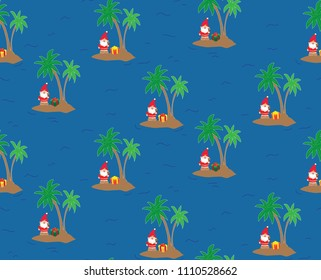 Santa Claus on an island - seamless repeating pattern. Perfect for greeting cards, wrapping paper, and stationery.