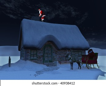 Santa Claus on a roof, ready to go down the chimney a starry night. His reindeer and sleigh waiting on the ground in front of the snow covered house.