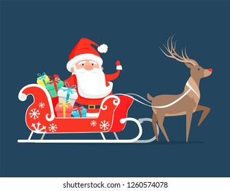 Santa Claus on sledge with reindeer and presents decorated by bright ribbon bows. raster illustration of Cristmas symbol on dark blue background