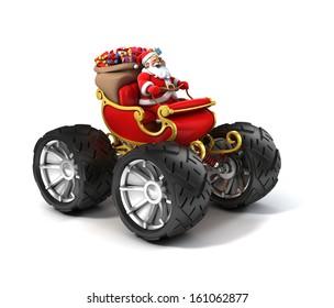 Santa Claus on sleigh with big wheels