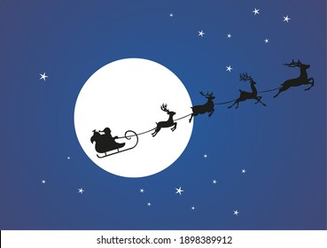 Santa claus on a sleigh in the sky with reindeer on the background of the moon