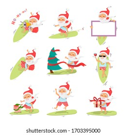 Santa Claus on surfboard with gifts in backpack ,christmas tree,gift,pig,board,sunglasses,wine glass,megaphone,isolated over white cartoon character Santa Claus.Merry Christmas and Happy New Year set