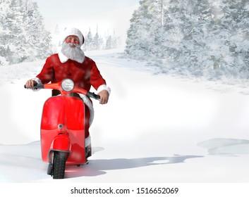 Santa Claus on Vintage Red Scooter, 3D illustration