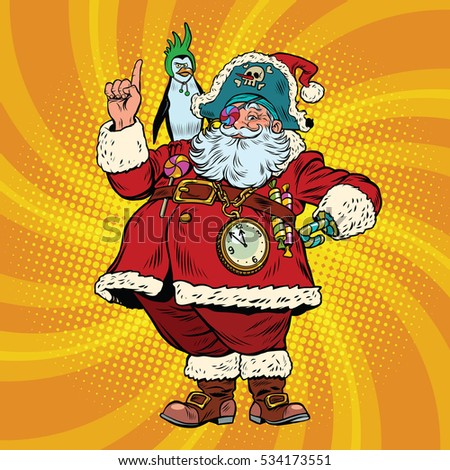 46ea67490ec61 Santa Claus Pirate Penguin Pointing Gesture Stock Illustration ...