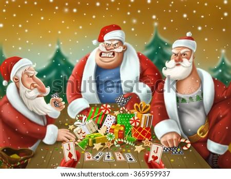 Santa Claus Playing Poker Card Stock Illustration 365959937