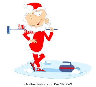 Santa Claus plays curling isolated illustration. Cartoon Santa Claus pushes a stone towards a target isolated on white illustration