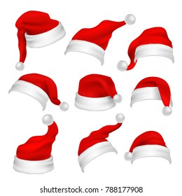 Santa Claus red hats photo booth props. Christmas holiday decoration elements. Santa claus xmas hat for photo booth, cap costume illustration