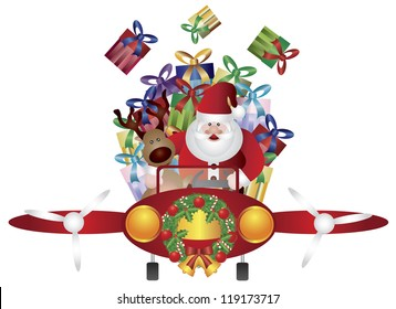 Santa Claus and Reindeer Flying in Vintage Classic Plane Isolated on White Background Raster Vector Illustration